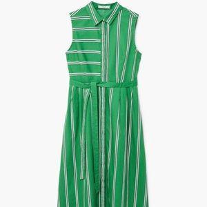 Green Striped Sleeveless Button Down Shirt Dress